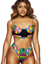 Tropical Print Underwired High Waisted 2 Piece Bathing Suit