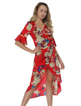 Red Print Wrap Dress With Flounce Sleeve Trend