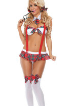 Sultry Suspenders Grid Bra Set Costumes Free School Girl