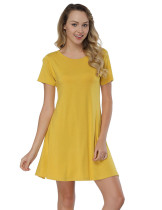 Dramatic Yellow Mini Length Natural Waist Dress Bamboo Fashion Trend