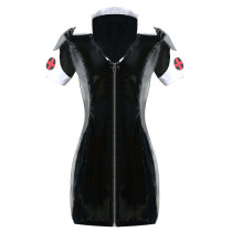 Seductress Black Shiny Leather Zipper Nurse Fancy Dress