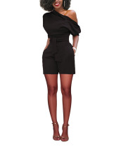 Incredible One Off Shoulder Black Side Pocket Zipper Romper Breath