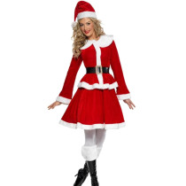 Holiday Red Christmas Furry Dress Costume Long Sleeves