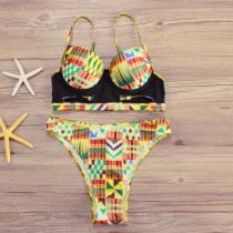 Geometric Inspired High Cut Two Piece High Rise Bikini