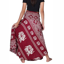 Bohemian Red Thai Elephant Hippie Skirts Waistband Bowknot