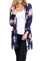 Chic Dark Blue Allover Floral Pattern Open Front Coat