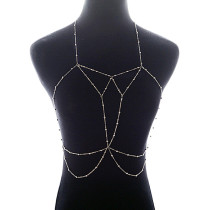 Breezy Silver Necklace Belly Body Chain Multi Layer Crossover