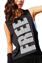 Lightweight Letters Printing Black Mesh Moving Tank Tops