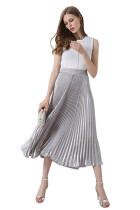 Elegant Stretch Metal Throughout Silver Pleated Skirt
