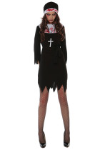 Bloody Black Mini Dress Nun Costume Jagged Hem Long Sleeve