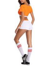 High Quality Orange Holland Football Baby Costume Set Front Crisscross Straps