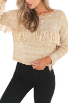 Chic Beige Bat-Like Knitting Shirt Pullover Round Neckline Long Sleeves