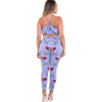 Sleeveless Halter Floral Two Piece Pants Set Tiered Design