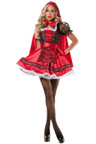 Elaborate Puffy Red Hooded Cap Lace Halloween Outfits