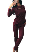 Chic Wine Red 2 Piece Cut Out Sweat Suit Full Sleeves