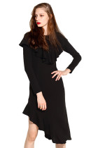 Captivating Black Irregular Dress Flounced Hem Long Sleeves