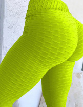 Sensational Fluorescent Green Butt Lifting Yoga Tights Wide Waistband