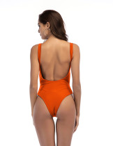 Online Orange Cut Out Tops One Piece Swimwear Baring Back Female