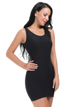 Plain Scoop Neck Black Body Shaper Dress Zipper Back
