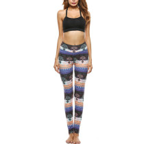 Milk Silk Long Printing High Waist Tight Brushed Trousers