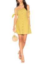 Front Buttons Yellow Slash Neck Dress Tie Up Sleeves