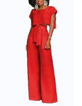 Sophisticated Red Wide Legged Knot Bottom Two Pieces Women Fashion