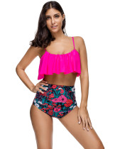 Adjustable Straps Rose Red Floral High Waisted Flounce Bikini