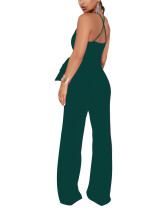 Women Dark Green Plunge Neck Rompers Wide Waistband Pants Outfit