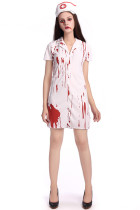 Scary White Bloody Killer Nurse Zombie Costume For Halloween