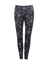 Tight Brushed Snowflake Pattern Leggings Elastic Waistband