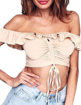 Dynamic Pleated Bowknot Tie Khaki Crop Top Ruffle Hem Shop Online