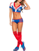 Incredibe 3 Pieces 10th Cheerleader Cosplay Set Contrast Color Smooth Fabric