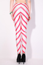 Red With White Stripes Fashion Girls Leggings