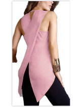 Delightful Pink Asymmetrical Large Vest Top Round Collar For Women