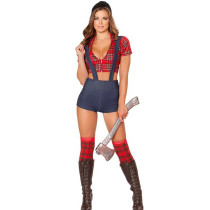 Halloween Lumberjack School Costume Crop Top Suspenders