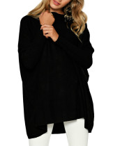 Pullover Black Blouse Wide Hemline Big Size Bundle Sleeves