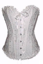 Plus Size White Floral Strapless Bridal Overbust Corset
