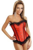 Red Satin Corset With Lace Trim