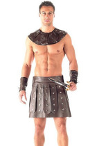3 Piece Vinyl Men's Barbarian Gladiator Costume
