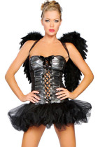 Bewitching Twilight Lace Up Black Angel Costume