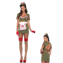 Retro Halloween 4 Pieces Military Nurse Girl Costume