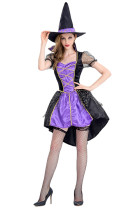 Purple And Black Halloween High Low Witch Costume Short Sleeves