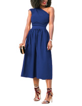 Sophisticated Blue Fittted Waist Midi Dress With Pocket Fashion