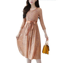 Slinky Light Brown Lace Self-Tie Waist Skater Dress Full Sleeves
