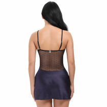 Adjustable Straps Splicing Mesh Lace Sleepwear Chemises