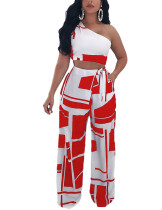 Skinny Red Print Bandage Palazzo Trousers Single Shoulder Top Womens