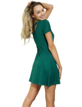 Blackish Green Natural Waist Bamboo Short Dresses Svelte Style