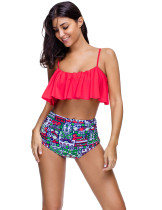 Red High Rise Flounce Top Swiming Suits Removable Padded Cups