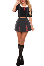 School Girl Black Class Nerd Costume Plaid Embellishment