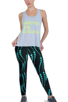 Stretchy Power Flex Printed Brushed Workout Tights Flat Waistband